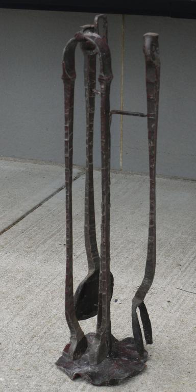 Brutalist Forged Iron Fireplace Toolset by Gianfranco Romagna, 1970 4