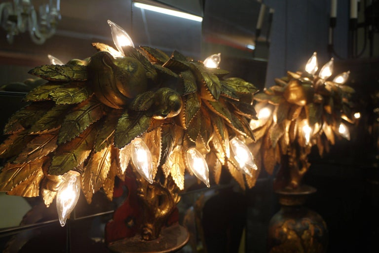 Hollywood Regency Pair of Tony Duquette Style Lamps, circa 1920 For Sale