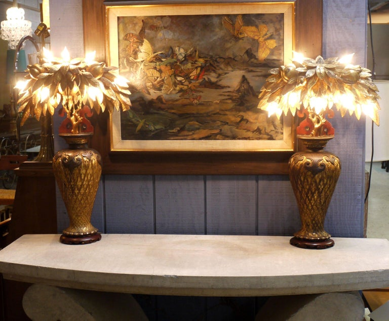 Early 20th Century Pair of Tony Duquette Style Lamps, circa 1920 For Sale