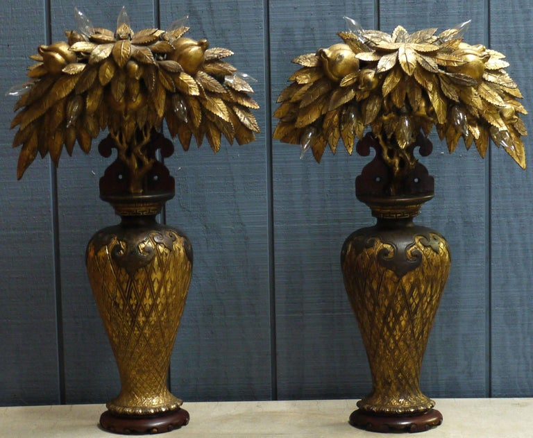 Giltwood Pair of Tony Duquette Style Lamps, circa 1920 For Sale
