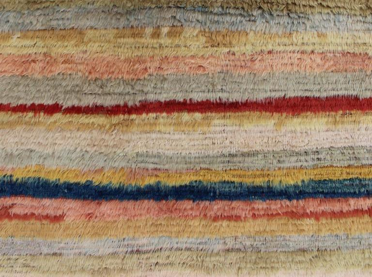 Vintage Turkish Tulu Rug with Stripes In Excellent Condition For Sale In Atlanta, GA
