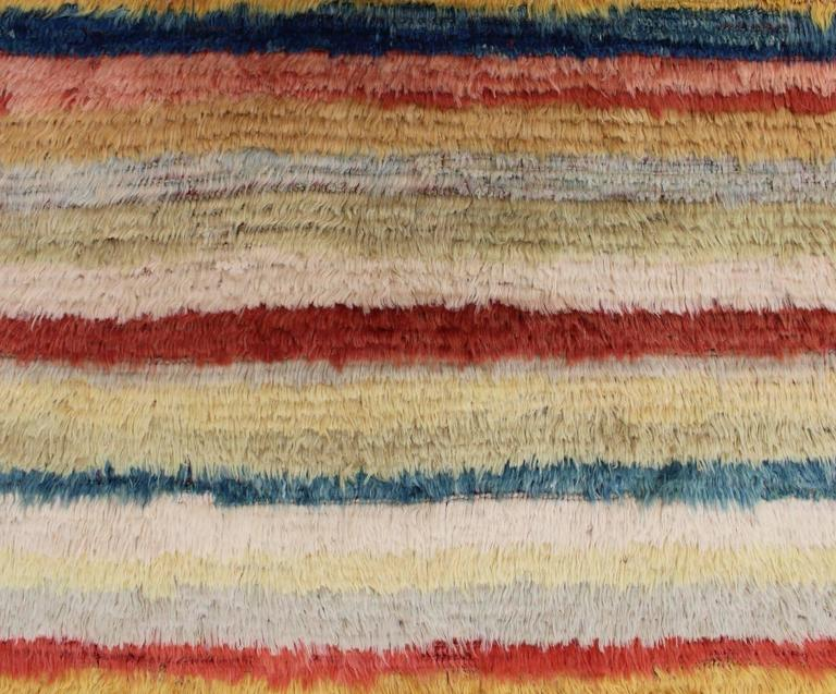 Hand-Knotted Vintage Turkish Tulu Rug with Stripes For Sale