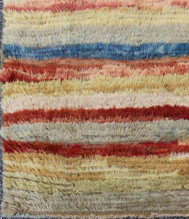 20th Century Vintage Turkish Tulu Rug with Stripes For Sale