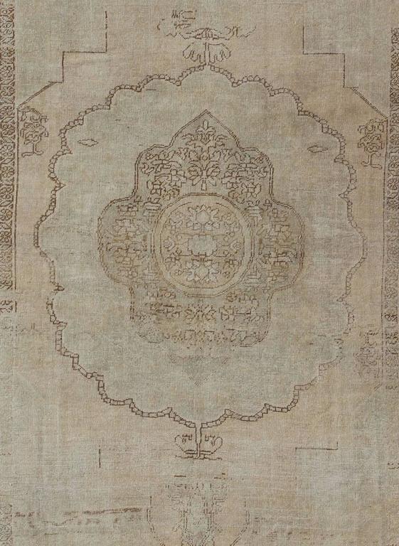 Antique Oushak Carpet In Taupe Brown Light Seladon Green