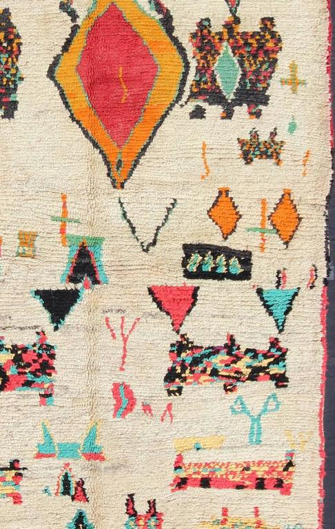 Hand-Knotted Vintage Moroccan Azilal Rug For Sale