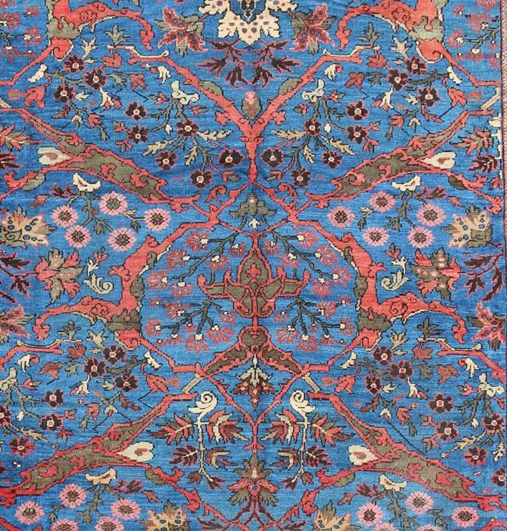 Late 19th Century Amazing Antique Persian Sultanabad Rug in a Unique Persian Blue Background For Sale