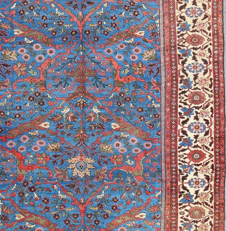 Hand-Knotted Amazing Antique Persian Sultanabad Rug in a Unique Persian Blue Background For Sale