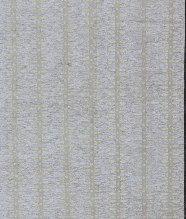 Large Modern Scandinavian or Swedish Flat Weave Rug with Butterfly Design. This Scandinavian flat-weave rug, patterned rug, is inspired by the work of Swedish textile designers of the early to mid-20th century. With a unique blend of historical and