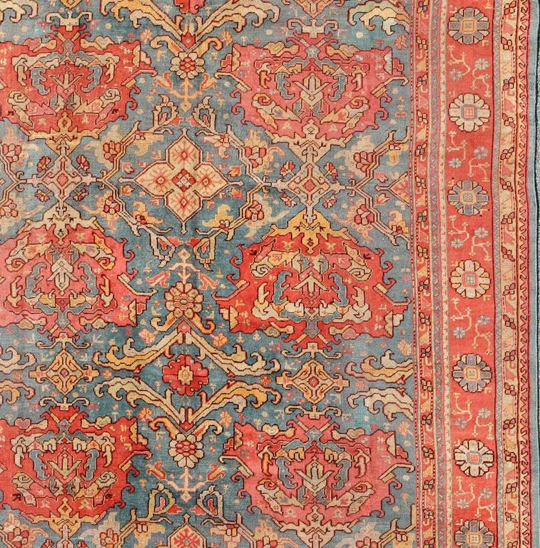 Antique Colorful Turkish Oushak Rug With Teal Color For