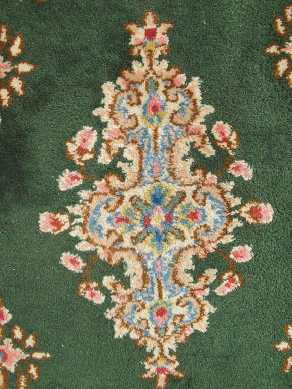 Small Green Kerman Rug With Central Medallion And Matching