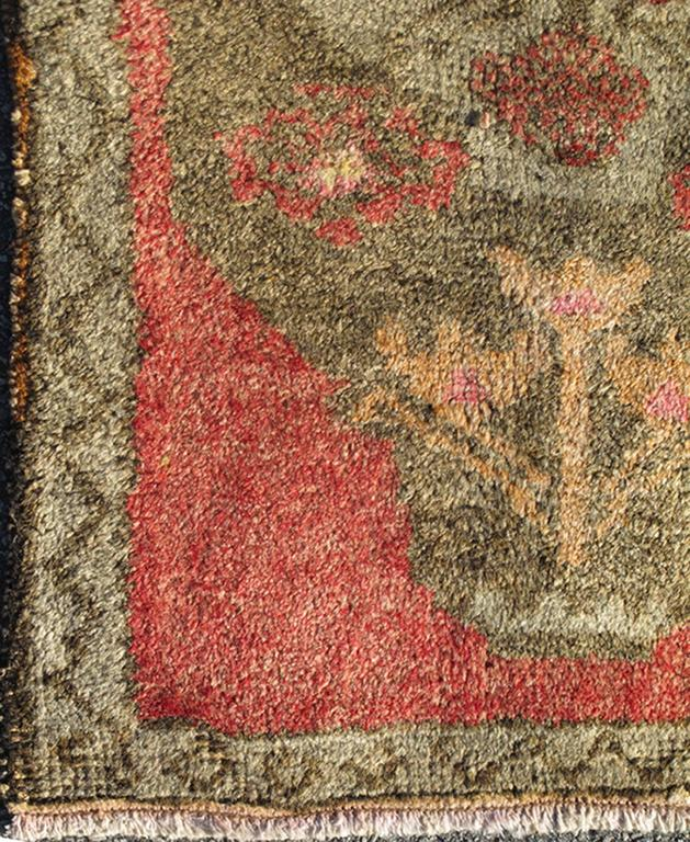Vintage Turkish Rug With Coral Field And Light Green