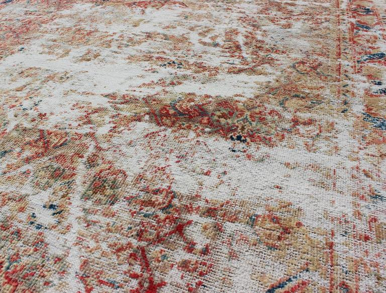 Distressed Vintage Persian Rug With Red And Navy Blue