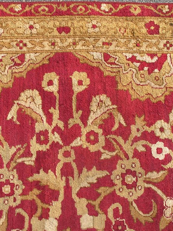 Large Antique Agra Carpet With Floral Design In Tones Of