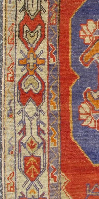 Colorful Vintage Turkish Oushak Rug With Stylized