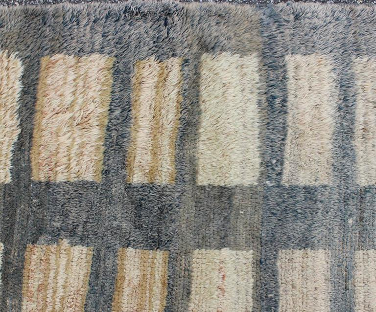 Vintage Turkish Tulu Carpet With Sand And Ivory Rectangles