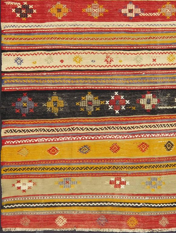 Vintage Turkish Kilim Rug With Colorful Geometric Stripe