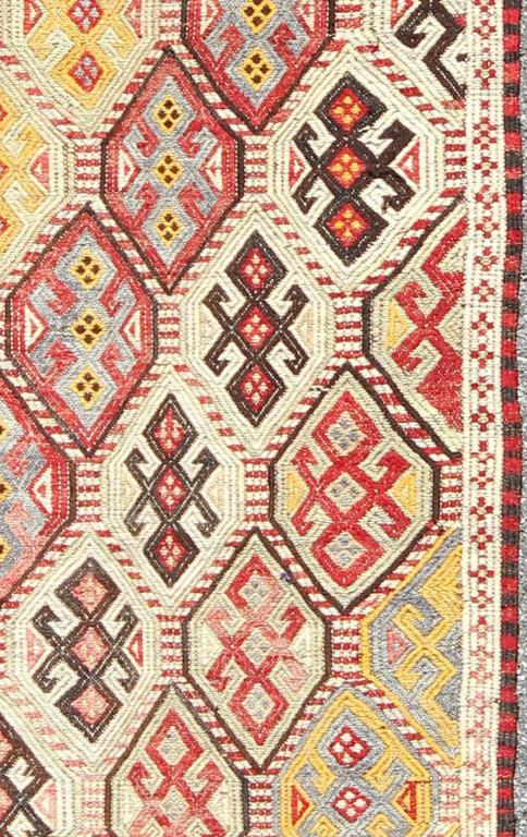 Unique Turkish Kilim Rug With Multi Colored Diamond