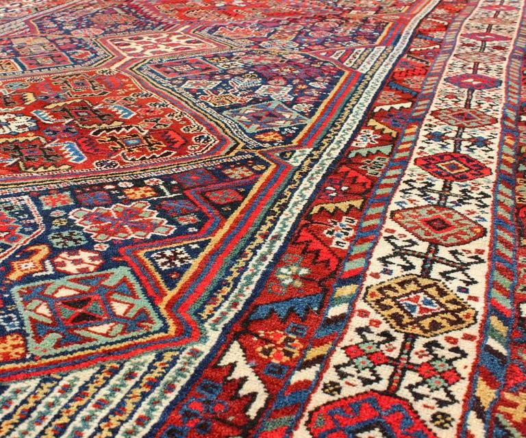 Qashqai Shiraz Rug: Antique Persian Qashqai Shiraz Tribal Rug With Hooked