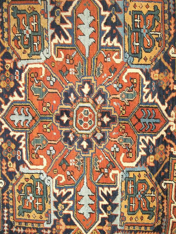 Antique Heriz Carpet With Complex Entwined Patterns And
