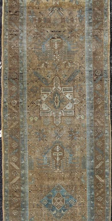 Early 20th Century Antique Karajeh Carpet In Blue Gray And