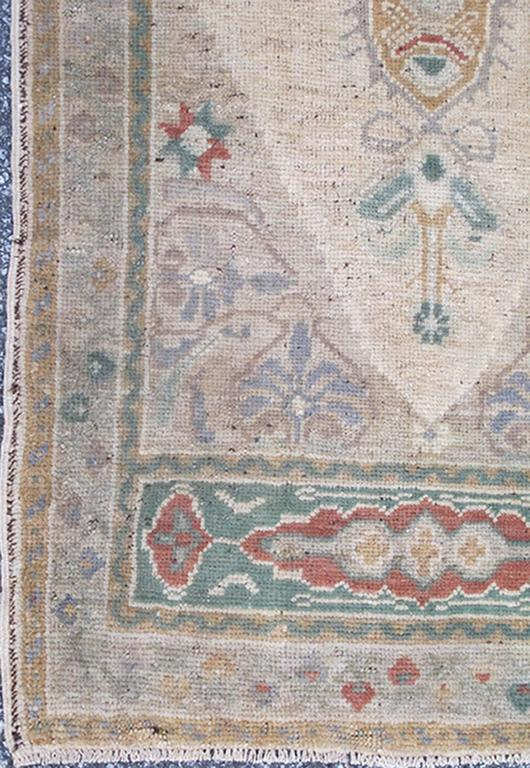 Vintage Turkish Oushak Rug With Multi Colored Central