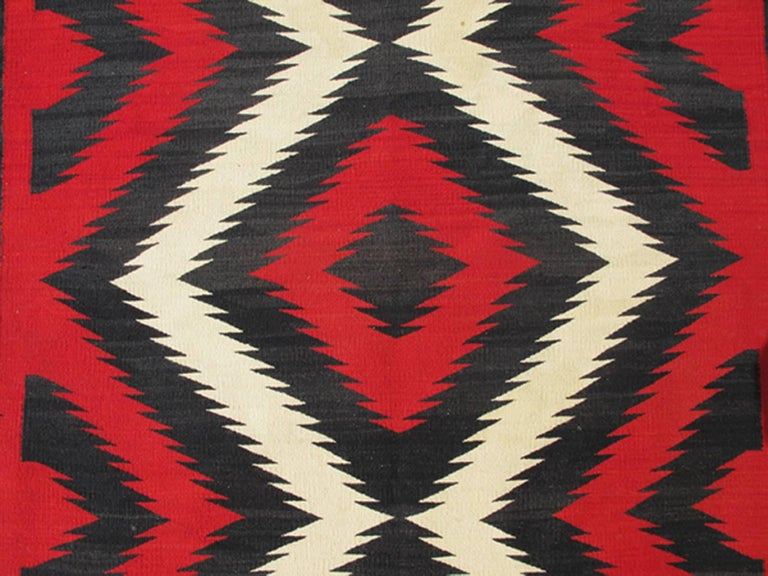 1920s American Antique Navajo Rug With Geometric Design In Red