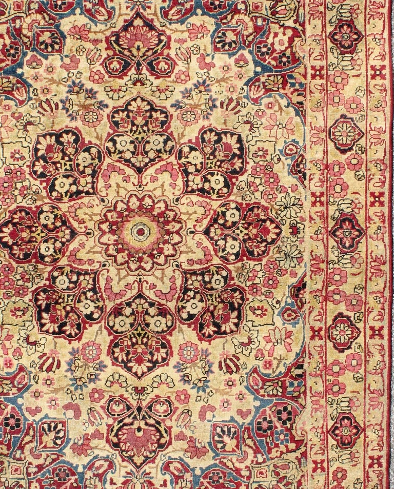 Late 19th Century Antique Lavar-Kerman Rug With Red And