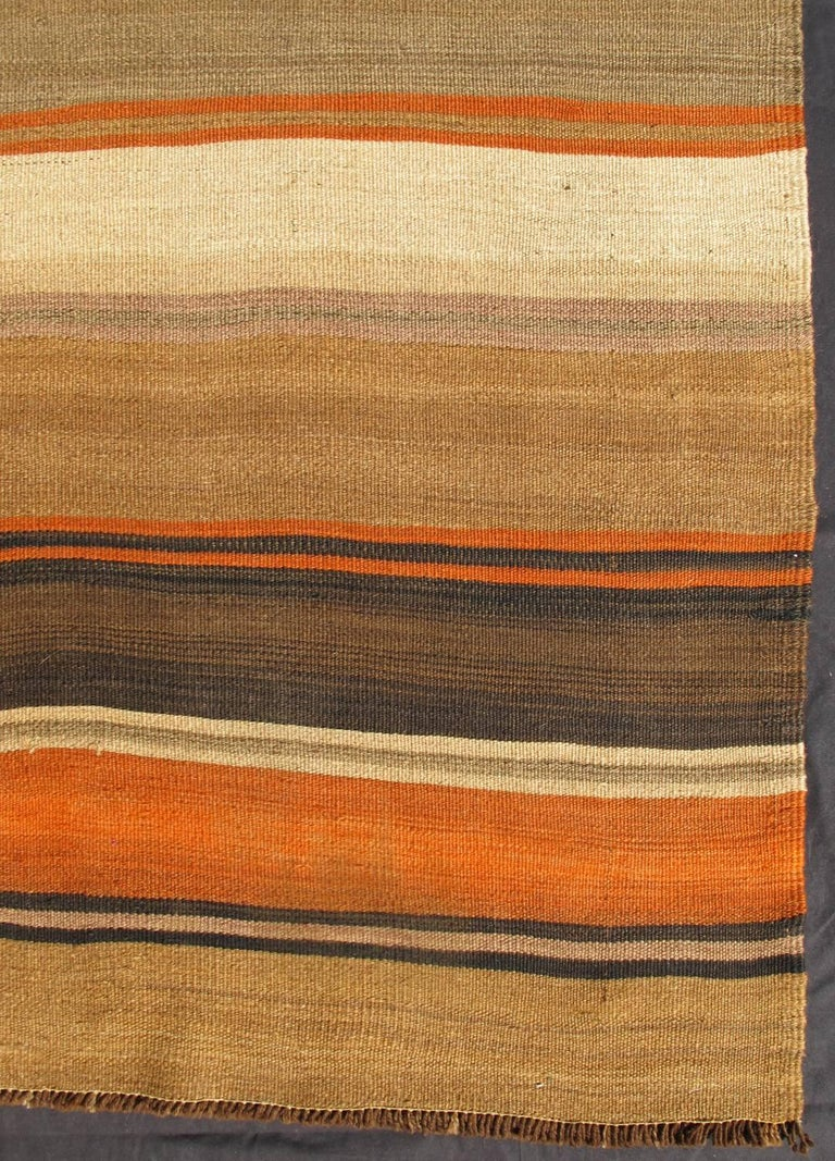 Multicolored Vintage Kilim Rug With Horizontal Stripes In