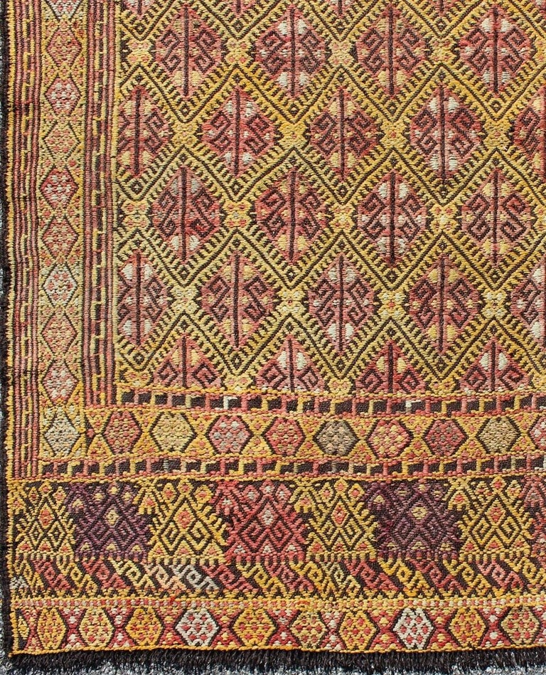 Vintage Turkish Embroidered Kilim Rug With All-Over