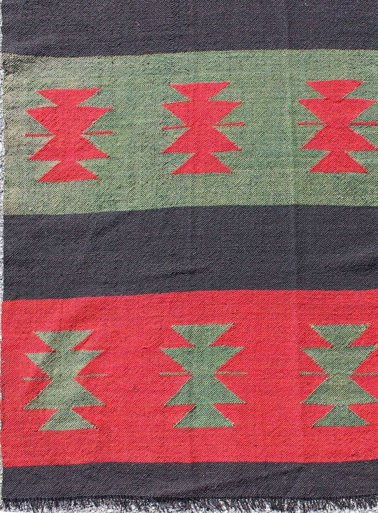 Large Vintage Kilim Rug With Tribal Shapes And Stripes In