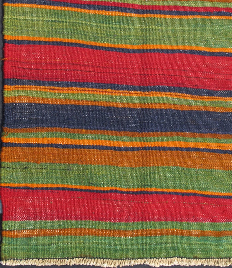 Vintage Kilim Runner With Horizontal Stripes In Orange