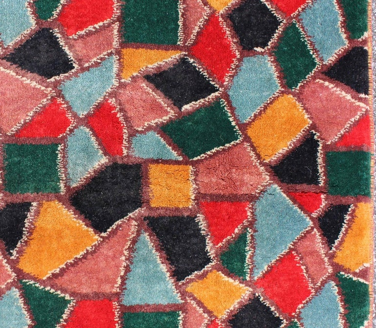 Mid Century Modern Rug With Mosaic Design In Red Yellow Pink Blue