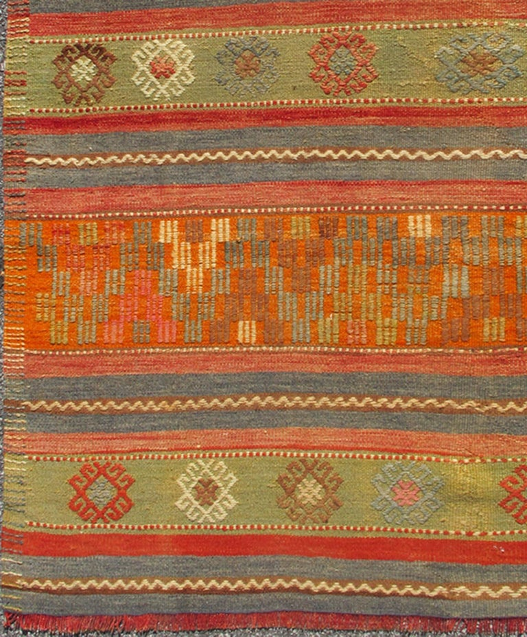 Large, Colorful Turkish Kilim Rug With Stripes And
