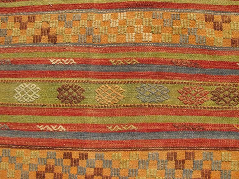 Multicolored Vintage Turkish Kilim Rug With Geometric