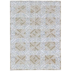 Geometric Scandinavian Swedish Design Kilim Rug with Modern Design