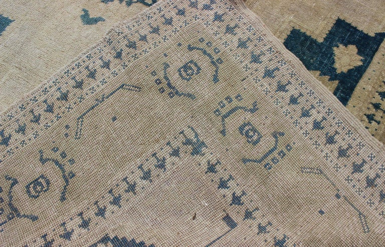 Vintage Turkish Oushak Rug in Blue and Cream colors For Sale 2