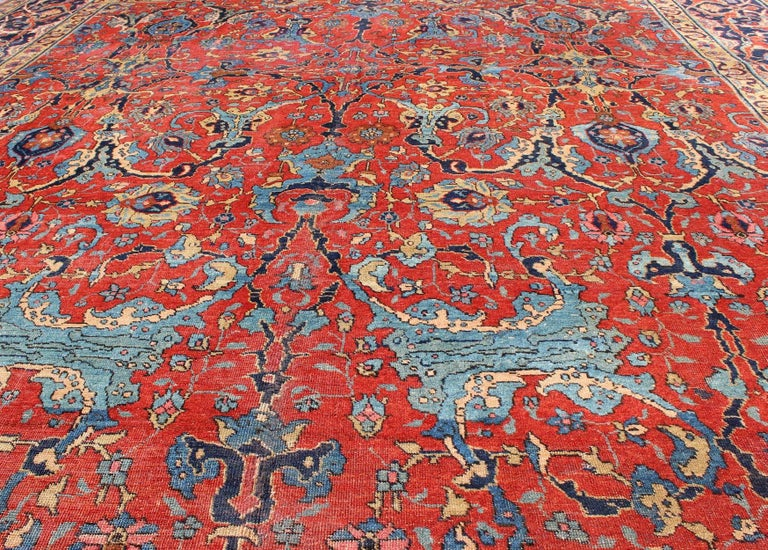 Antique Tabriz Rug With All Over Design In Rust Red Navy