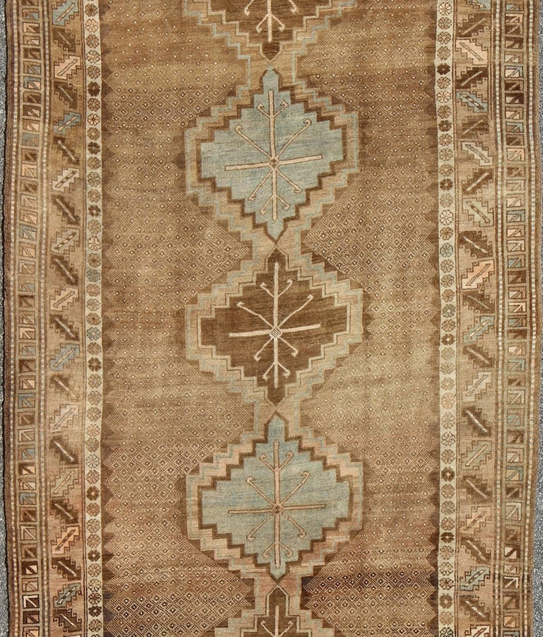 Tribal Turkish Oushak Gallery Rug In Excellent Condition For Sale In Atlanta, GA