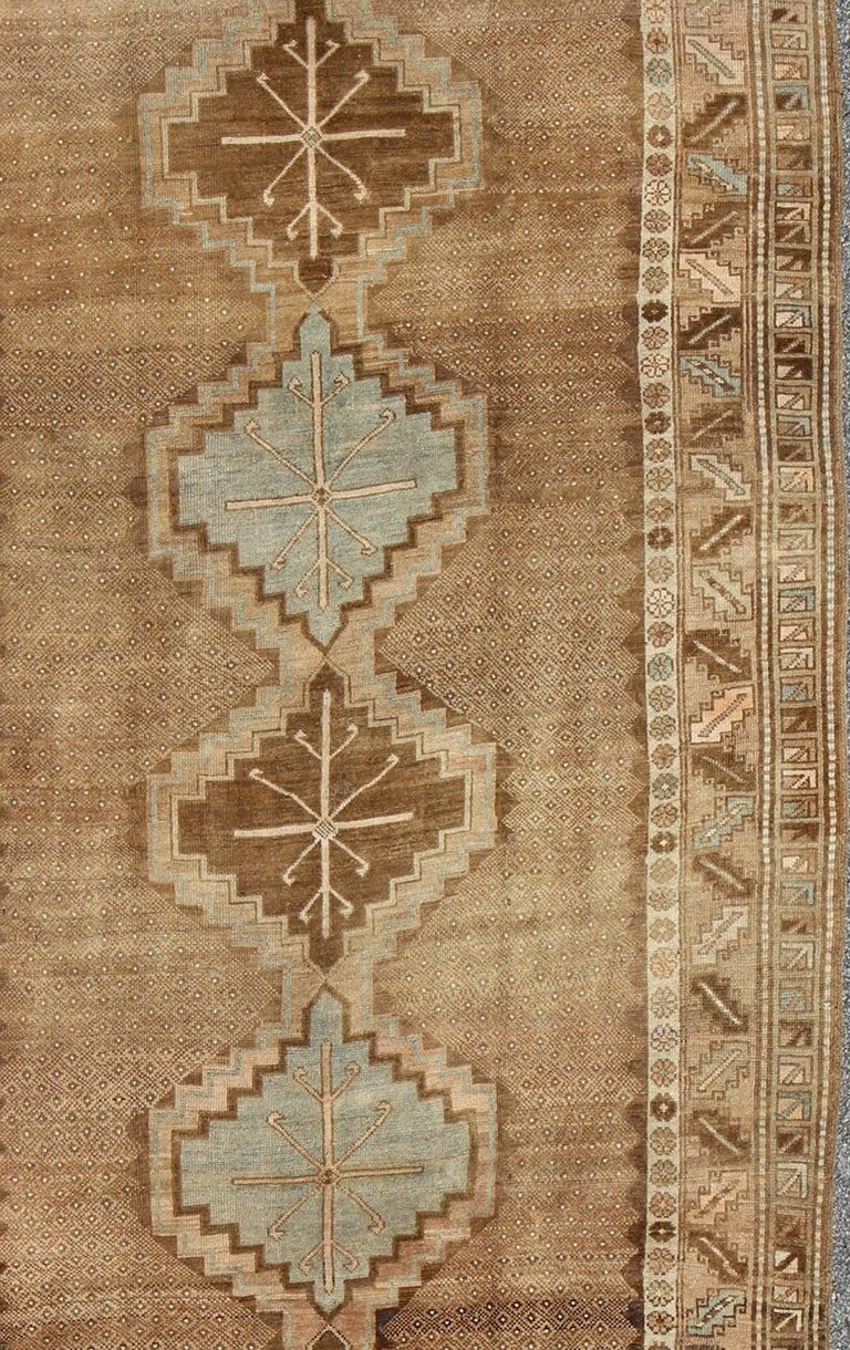 20th Century Tribal Turkish Oushak Gallery Rug For Sale