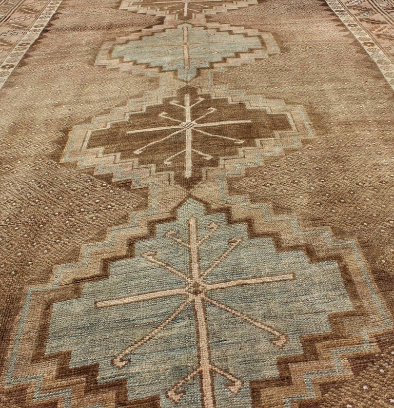 Tribal Turkish Oushak Gallery Rug For Sale 2