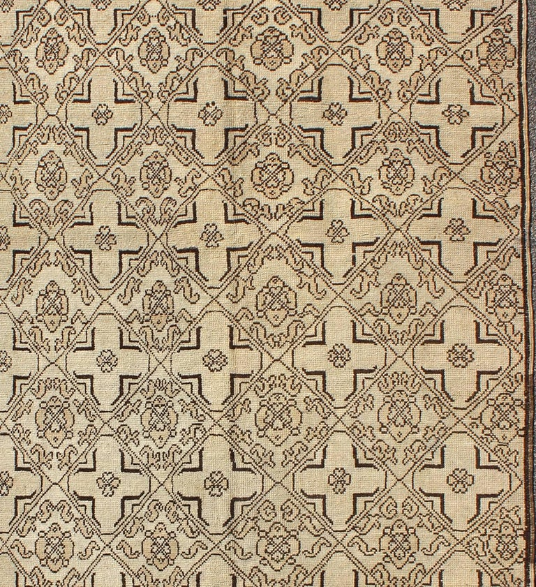 Hand-Knotted Vintage Oushak Rug with Modern Transitional Design in Dark Brown and Taupe For Sale