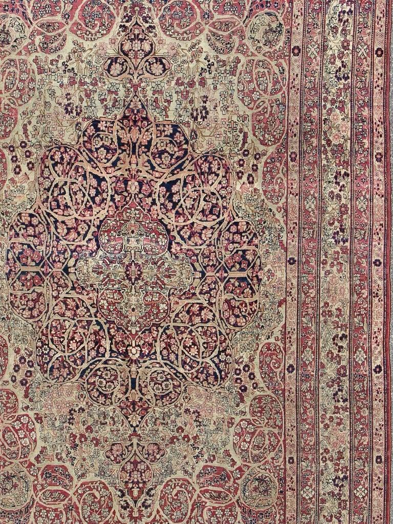 Antique Persian Lavar Kerman Rug In Good Condition For Sale In Atlanta, GA