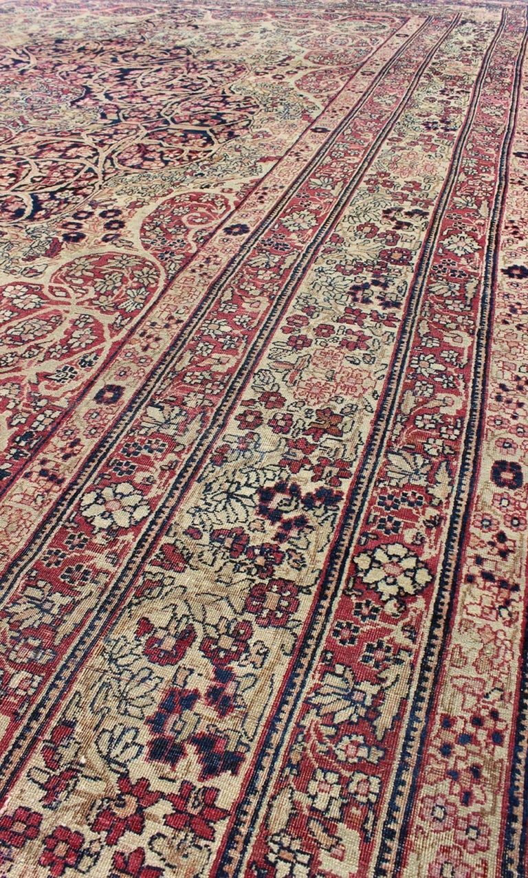 Late 19th Century Antique Persian Lavar Kerman Rug For Sale