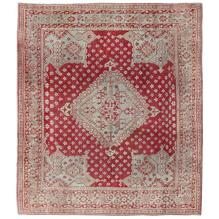 Antique Turkish Oushak Red Carpet