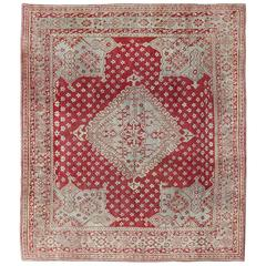 Antique Turkish Oushak Red Carpet