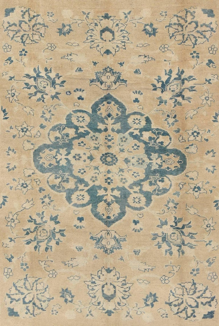 Hand-Knotted Vintage Turkish Oushak Rug in Cream and Blue For Sale