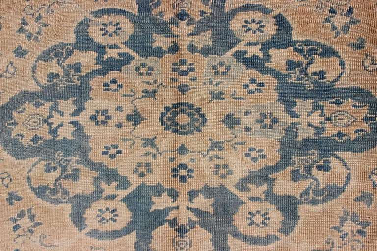 Wool Vintage Turkish Oushak Rug in Cream and Blue For Sale
