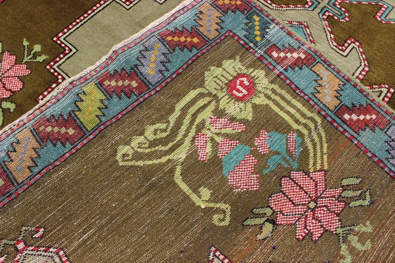 Wool Unique Turkish Carpet in Green and Vivid Colors For Sale