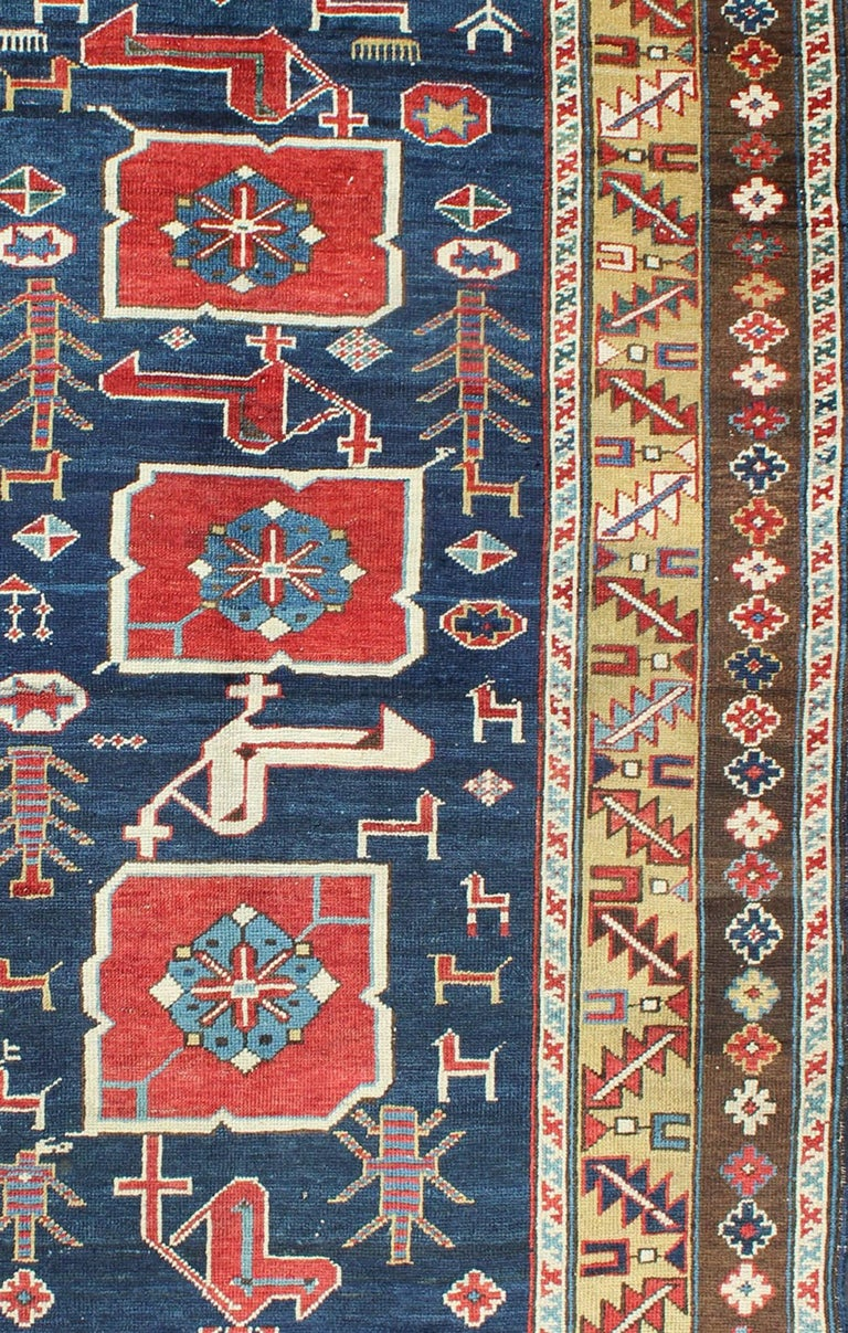 Hand-Knotted Antique Caucasian Karaqashl Rug For Sale
