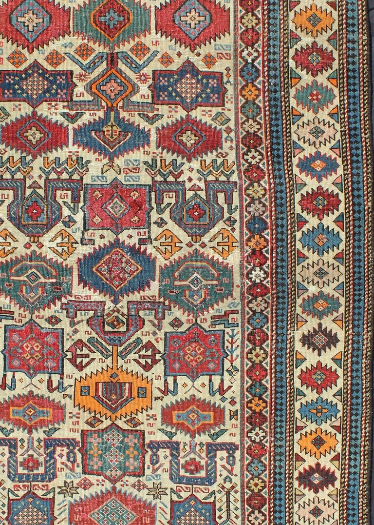Hand-Knotted Antique Shirvan Caucasian Rug For Sale